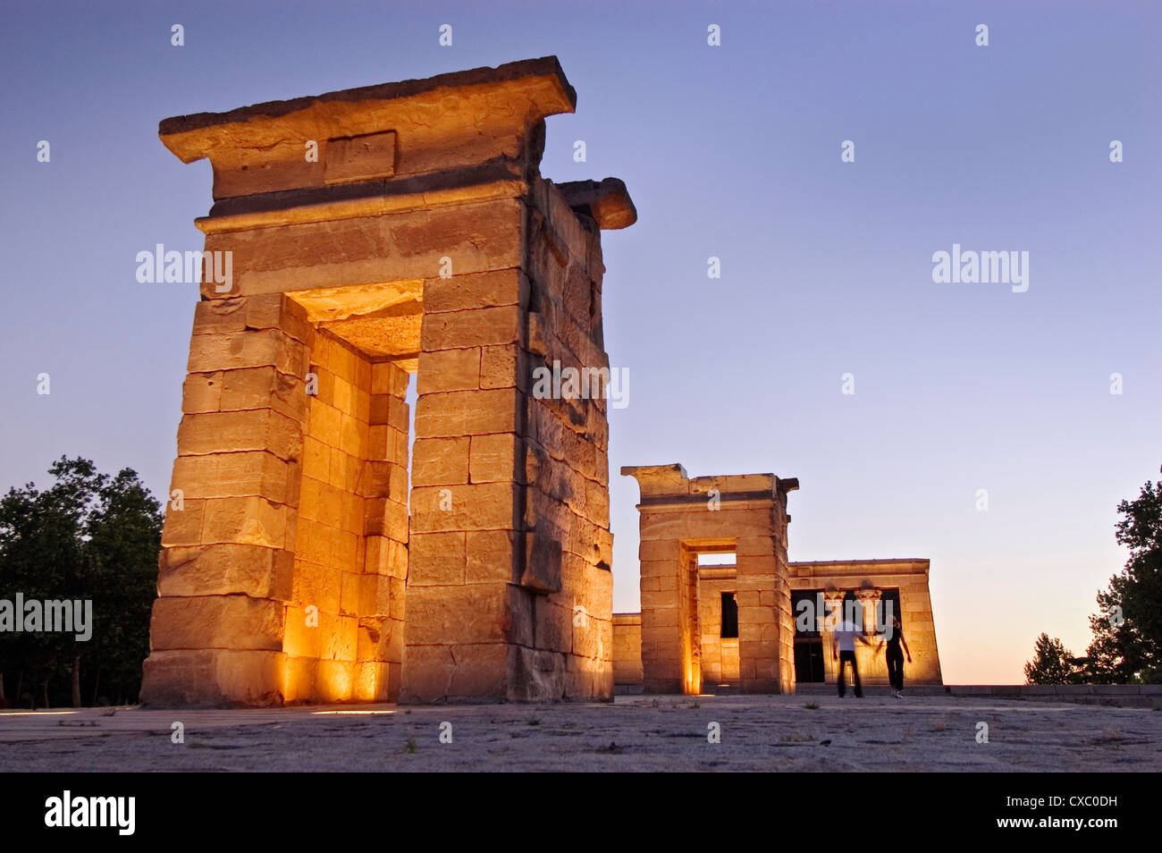 Debod Temple at sunset Madrid - Stock Image