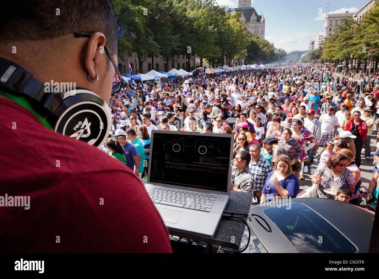 DJ playing music at an outdoor concert - USA Stock Photo
