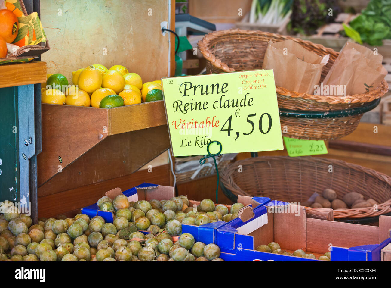 A market scene that displays some of the fruit and vegetables available to buy in Cherbourg, Northern France. - Stock Image