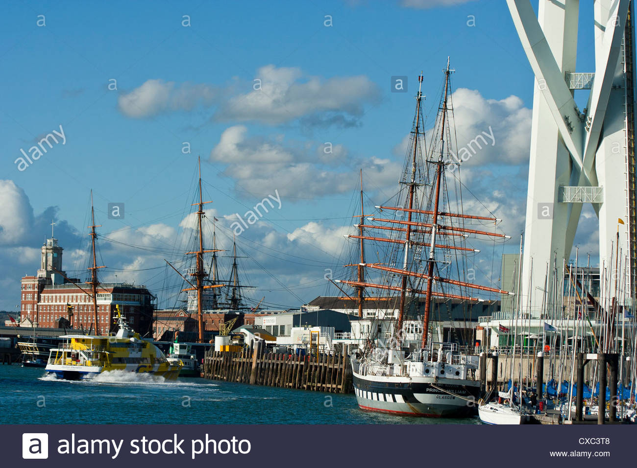 Portsmouth Hampshire England Harbour Sailing Ships Masts Busy - Stock Image
