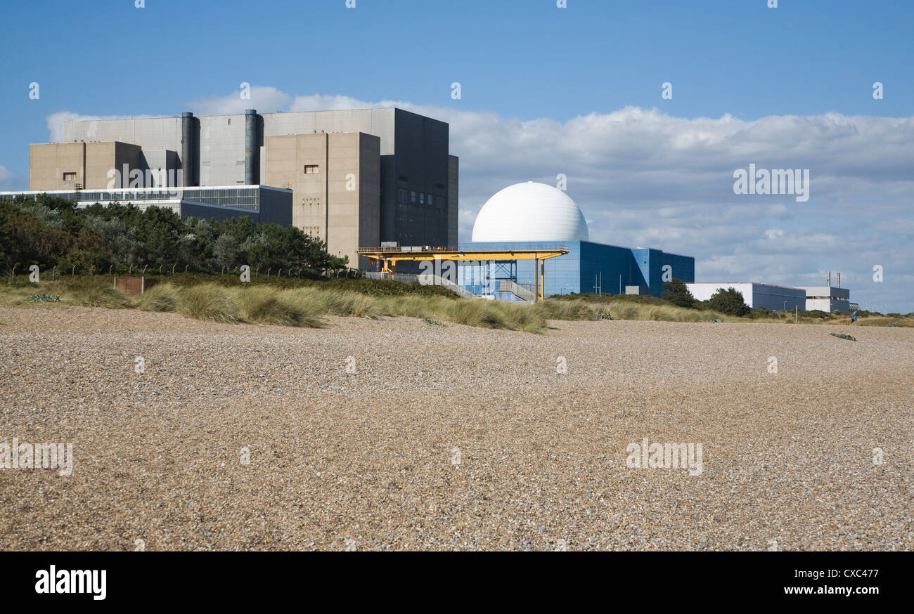 Beach Sizewell A and B nuclear power stations Suffolk England - Stock Image