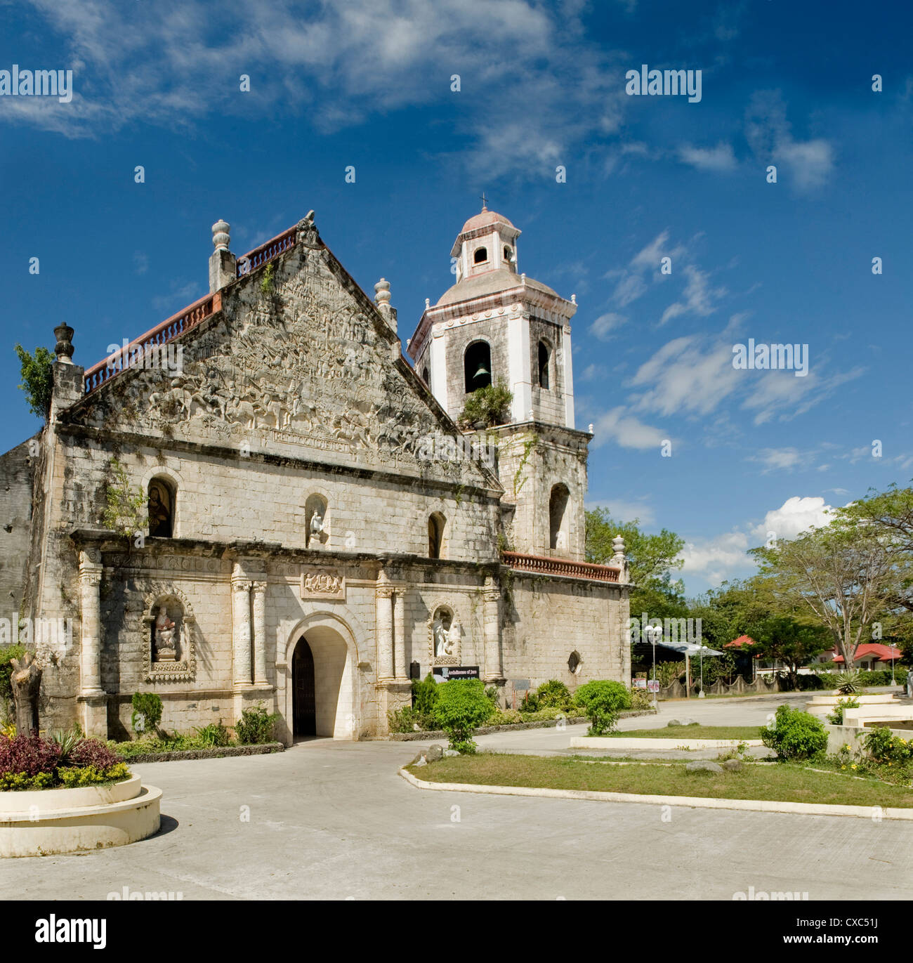 Church of San Joaquin, by Fr T Santaren, where reliefs commemorate the battle of Tetuan between the Spanish and - Stock Image