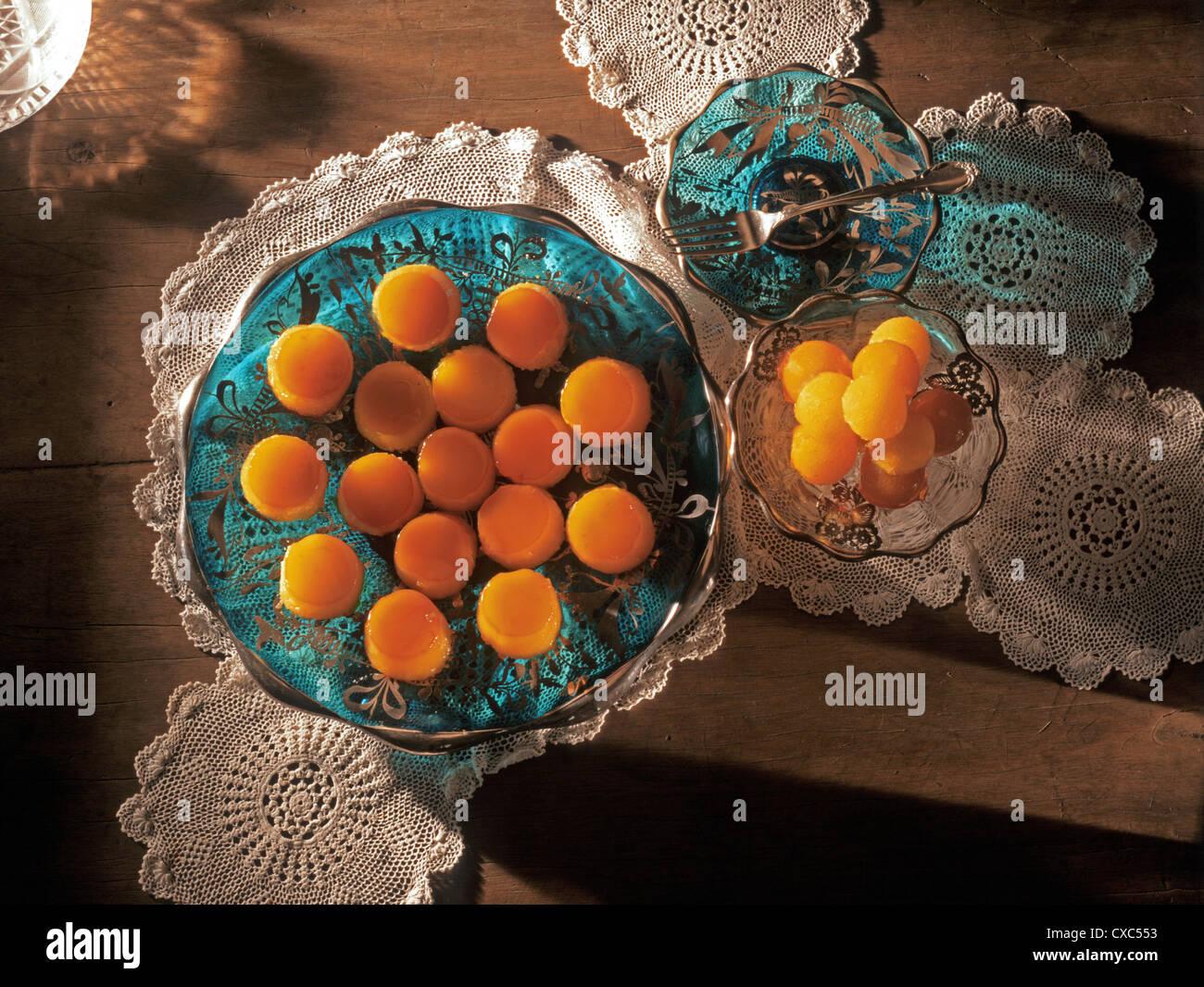 Lecce flans and egg yolk balls, filipino desserts of Spanish origin, Philippines, Southeast Asia, Asia - Stock Image