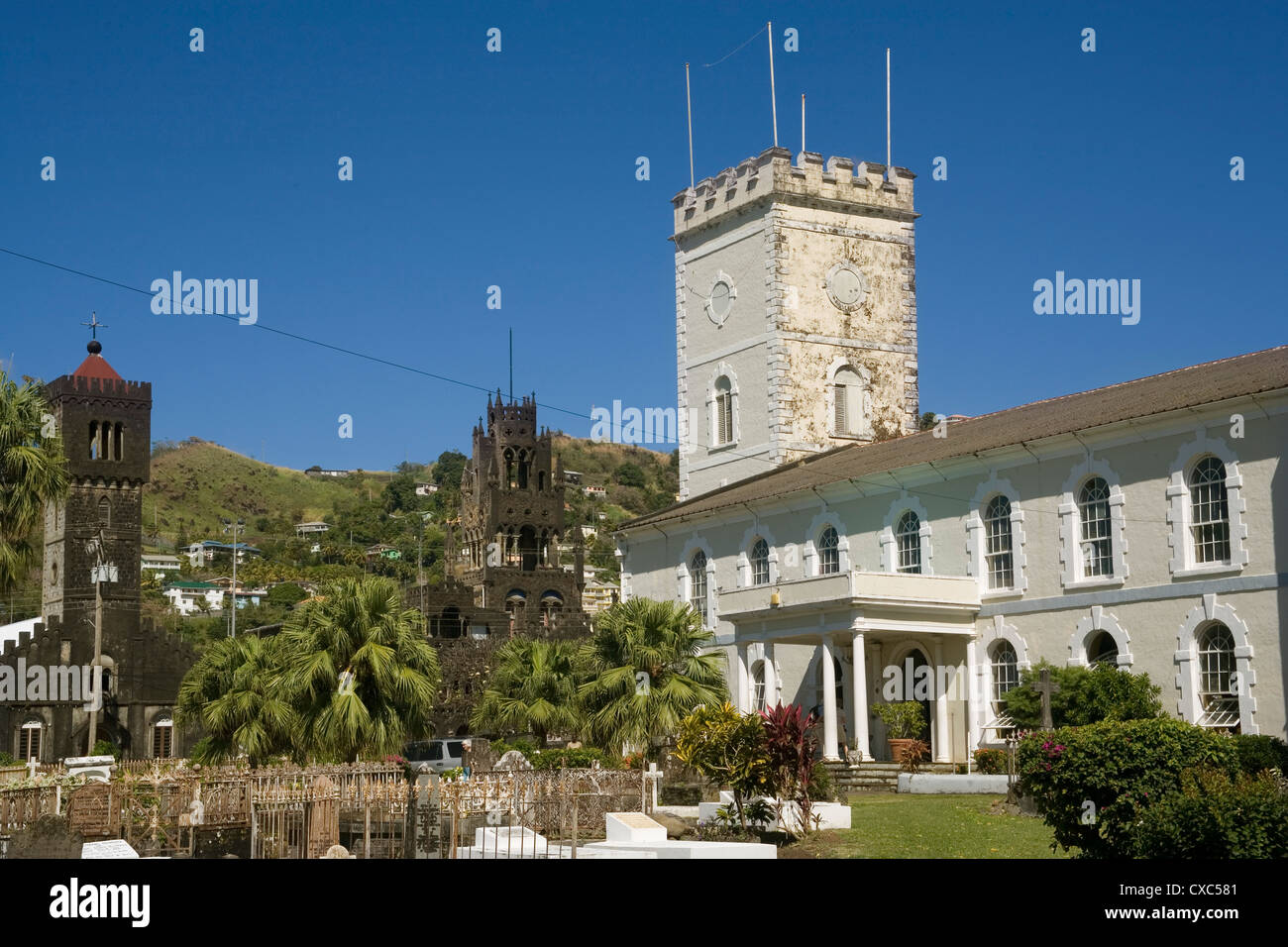 Anglican cathedral, with the Roman Catholic cathedral on the left, Kingstown, St. Vincent, St. Vincent and the Grenadines - Stock Image