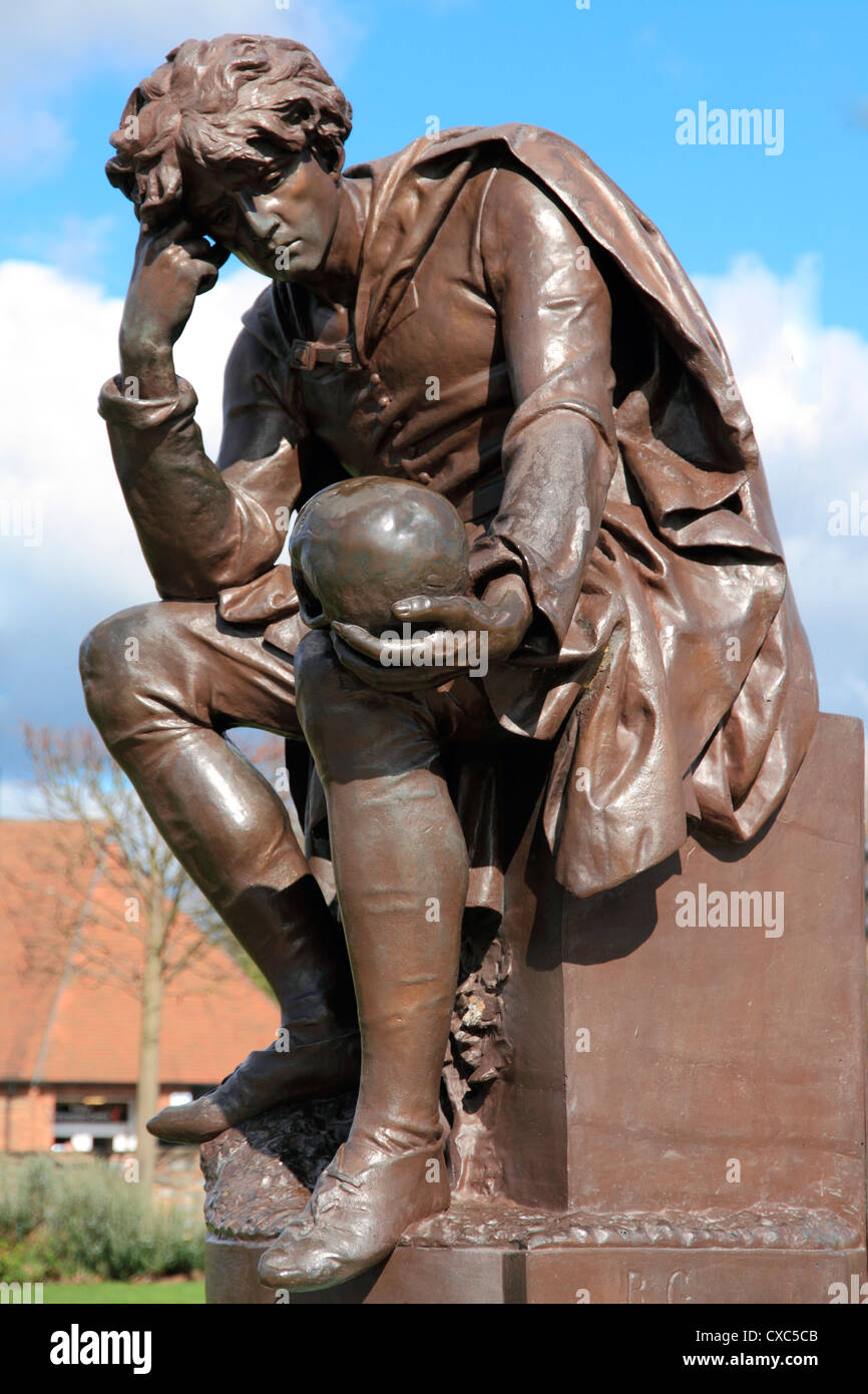 Hamlet statue, Gower Memorial, Stratford-upon-Avon, Warwickshire, England, United Kingdom, Europe Stock Photo