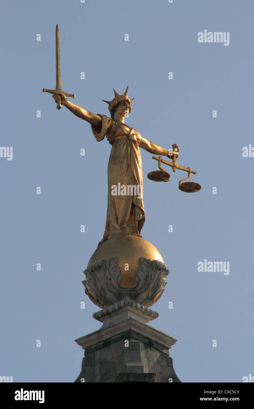 Scales of Justice, Central Criminal Court, Old Bailey, London, England, United Kingdom, Europe - Stock Image