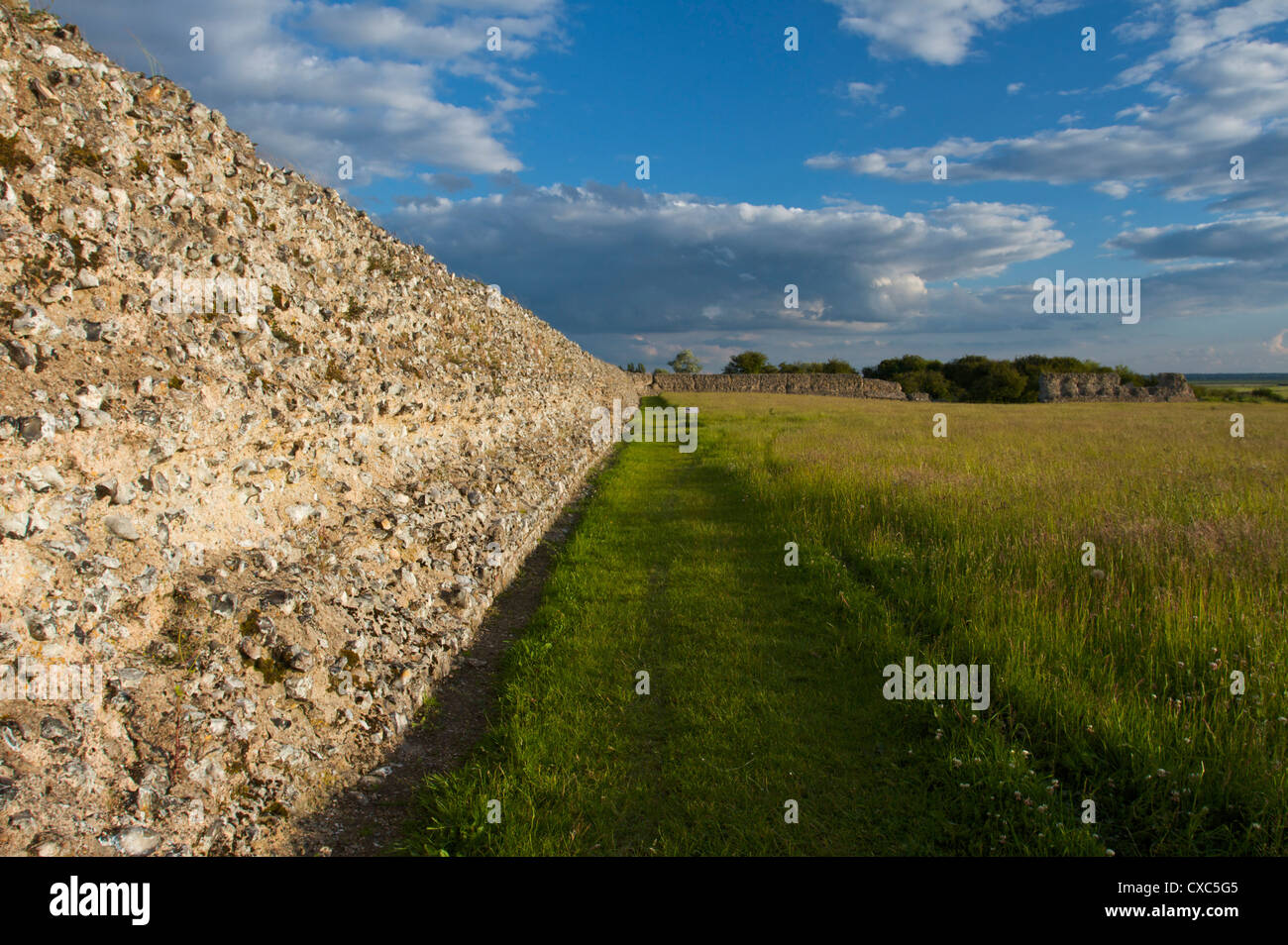 Burgh Castle, Great Yarmouth, Norfolk, England, United Kingdom, Europe - Stock Image