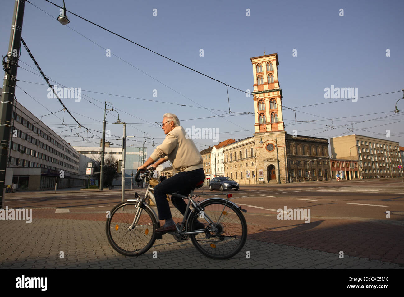 Dessau, cyclists and Museum of Natural History and Prehistory - Stock Image