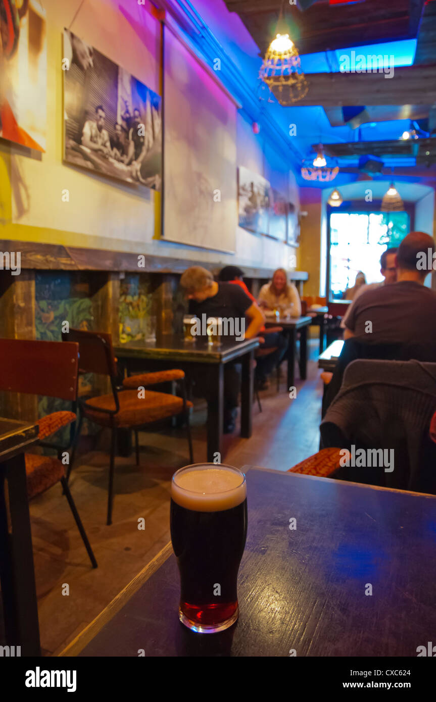 Half litre of dark beer Hell Hunt the oldest bar in Tallinn Estonia Europe - Stock Image