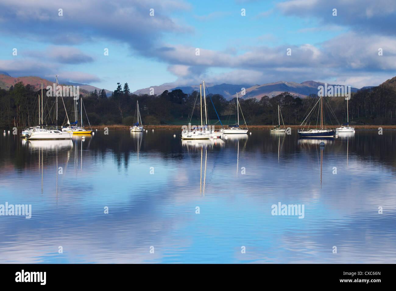Sunrise, Ambleside, Lake Windermere, Lake District National Park, Cumbria, England, United Kingdom, Europe - Stock Image