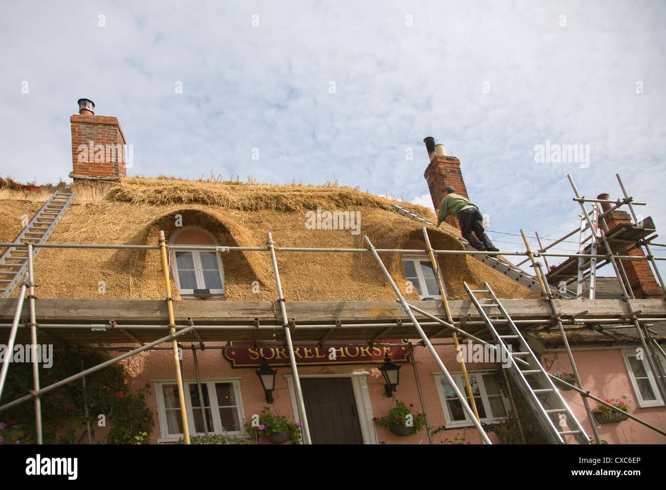Thatcher thatching country Sorrel Horse pub roof Shottisham Suffolk England - Stock Image