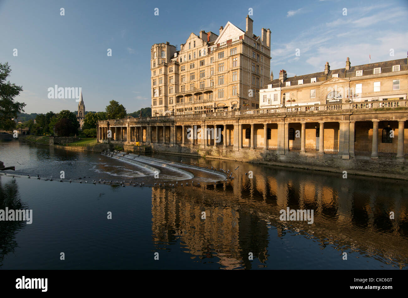 Pulteney Weir, Bath, UNESCO World Heritage Site, Avon, England, United Kingdom, Europe - Stock Image