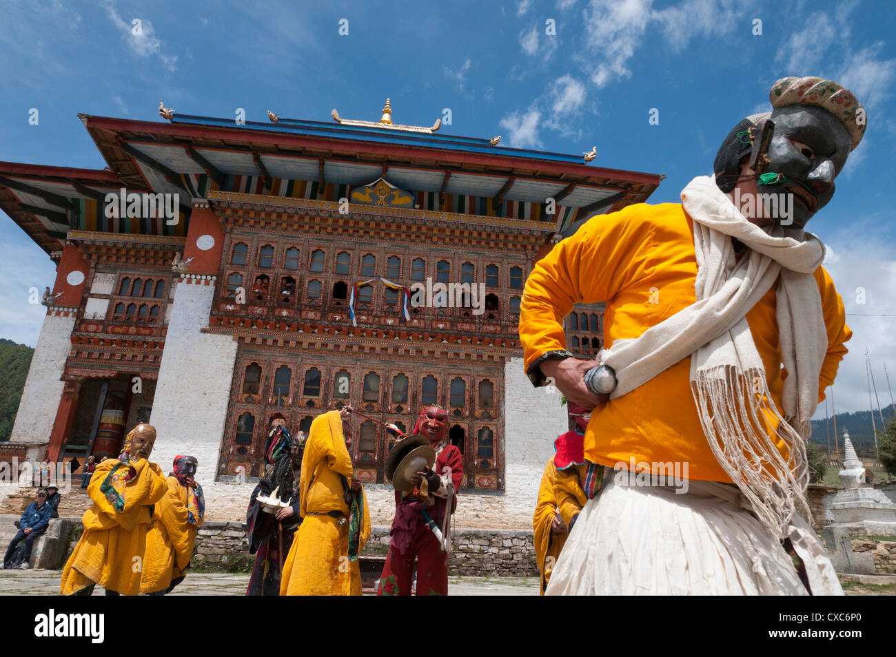 Traditional Buddhist festival in Ura, Bumthang, Bhutan, Asia - Stock Image