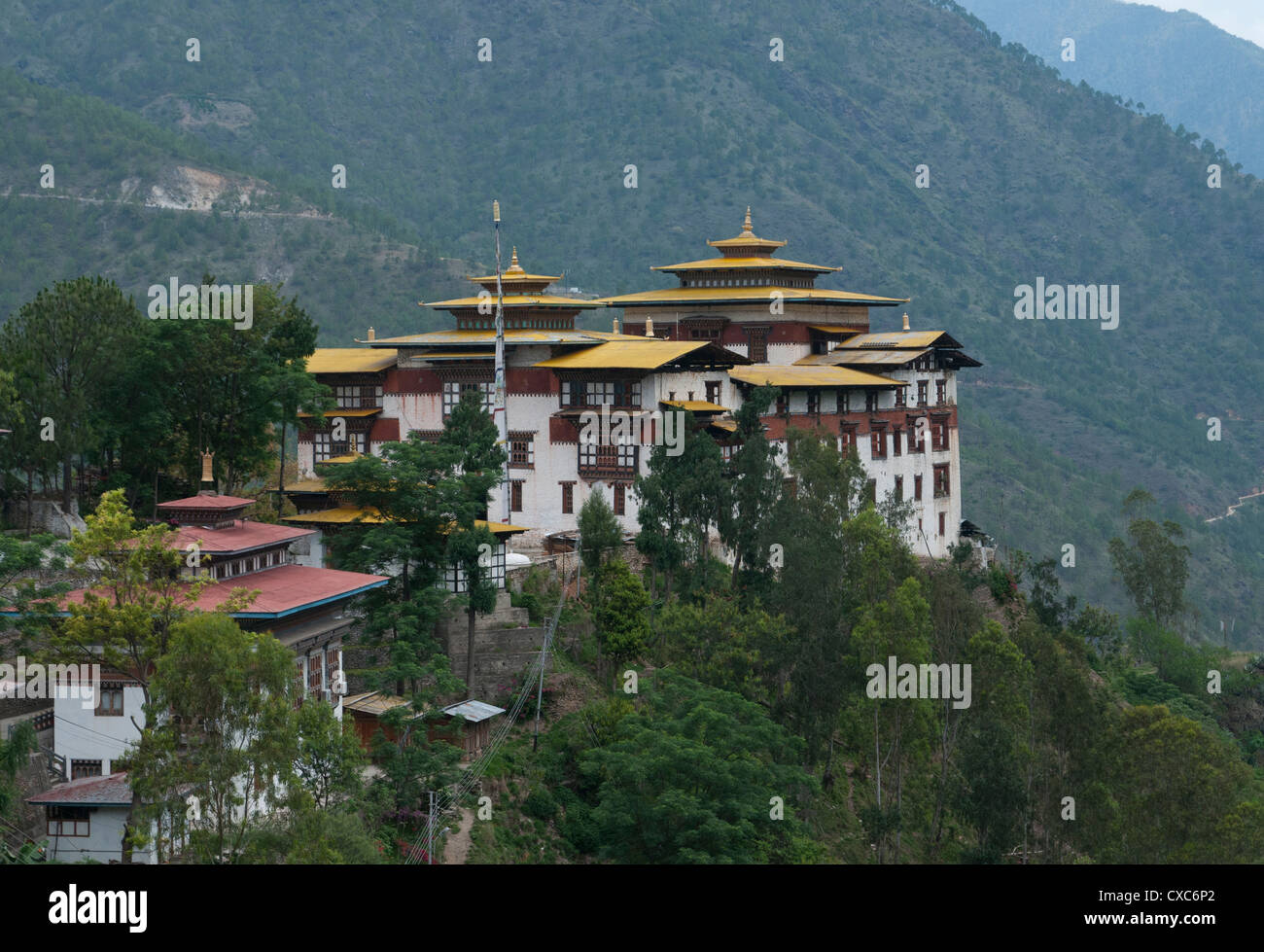 View of the Dzong in Trashigang with hills in the background, Eastern Bhutan, Bhutan, Asia - Stock Image