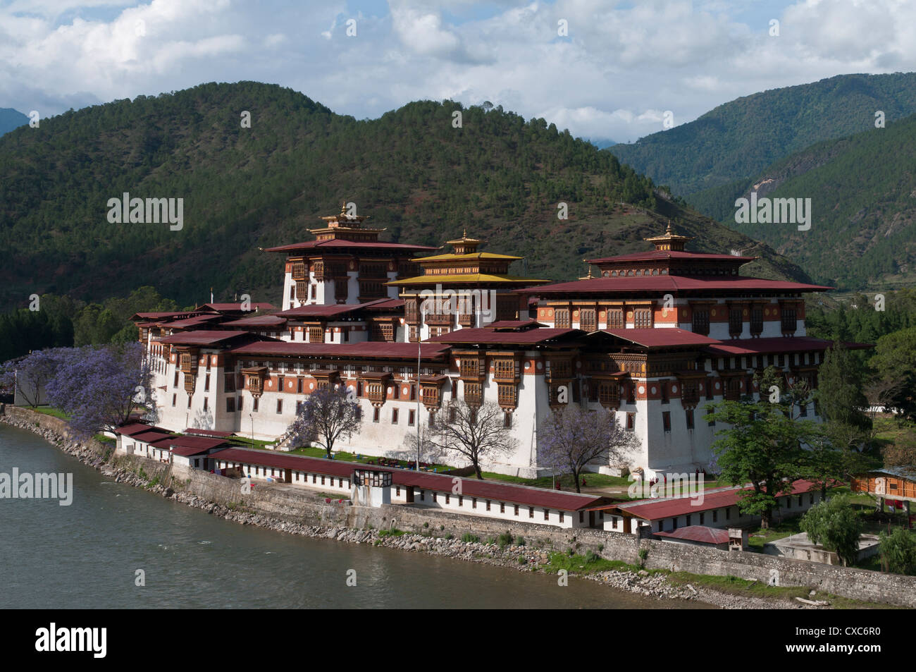 View of the Dzong in Punakha, Bhutan, Asia - Stock Image