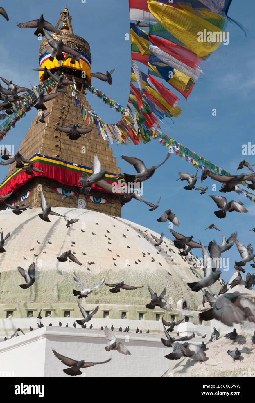 Boudhnath Stupa, one of the holiest Buddhist sites in Kathmandu, Nepal, Asia - Stock Image