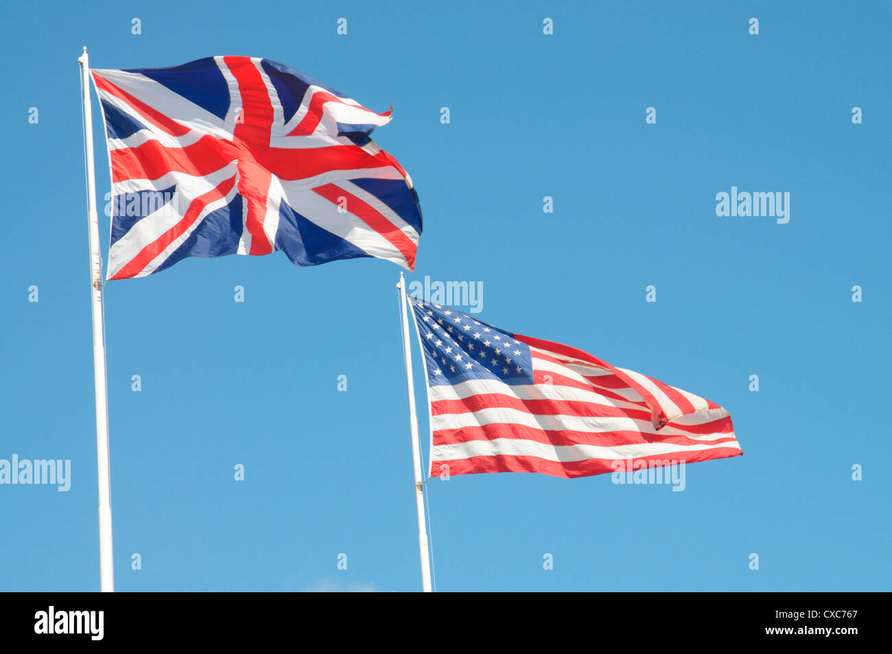 UK and USA Flags, United States of America, North America - Stock Image
