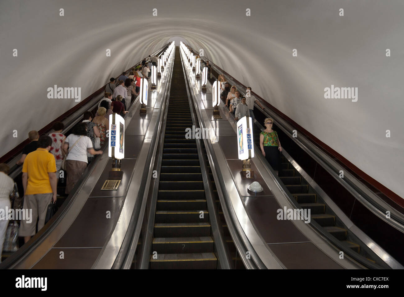 Metro escalator, Kiev, Ukraine, Europe - Stock Image