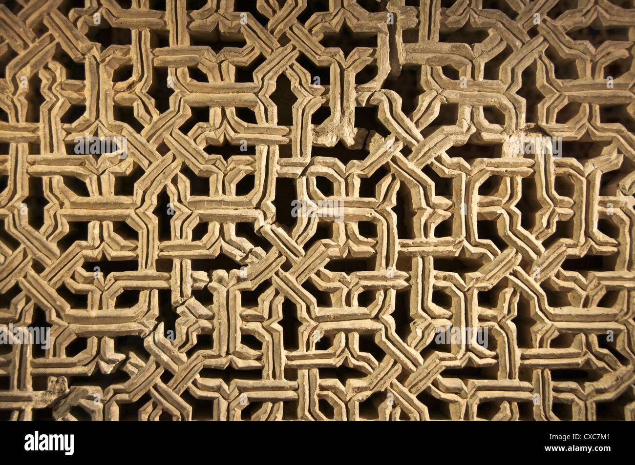 Typical plaster geometric decor, the Aljaferia Palace, dating from the 11th century, Saragossa (Zaragoza), Aragon, - Stock Image