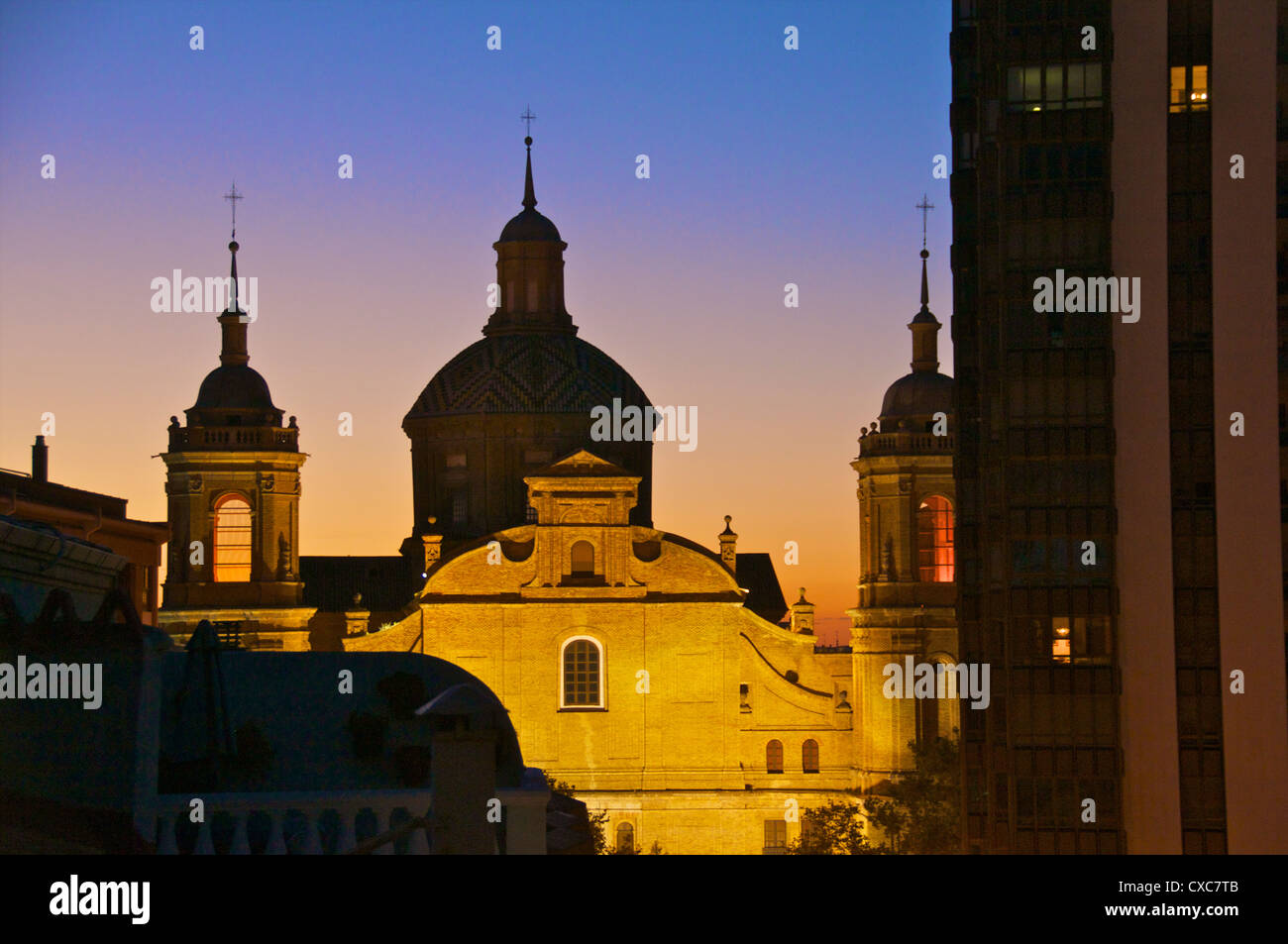Saint Miguel de los Navarros church, Mudejar church dating from the 14th and 15th centuries, Saragossa (Zaragoza), - Stock Image