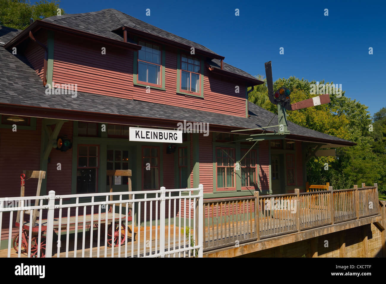 Kleinburg Railway Station Scout House built in 1907 relocated to Islington Avenue north of Toronto Ontario Canada - Stock Image