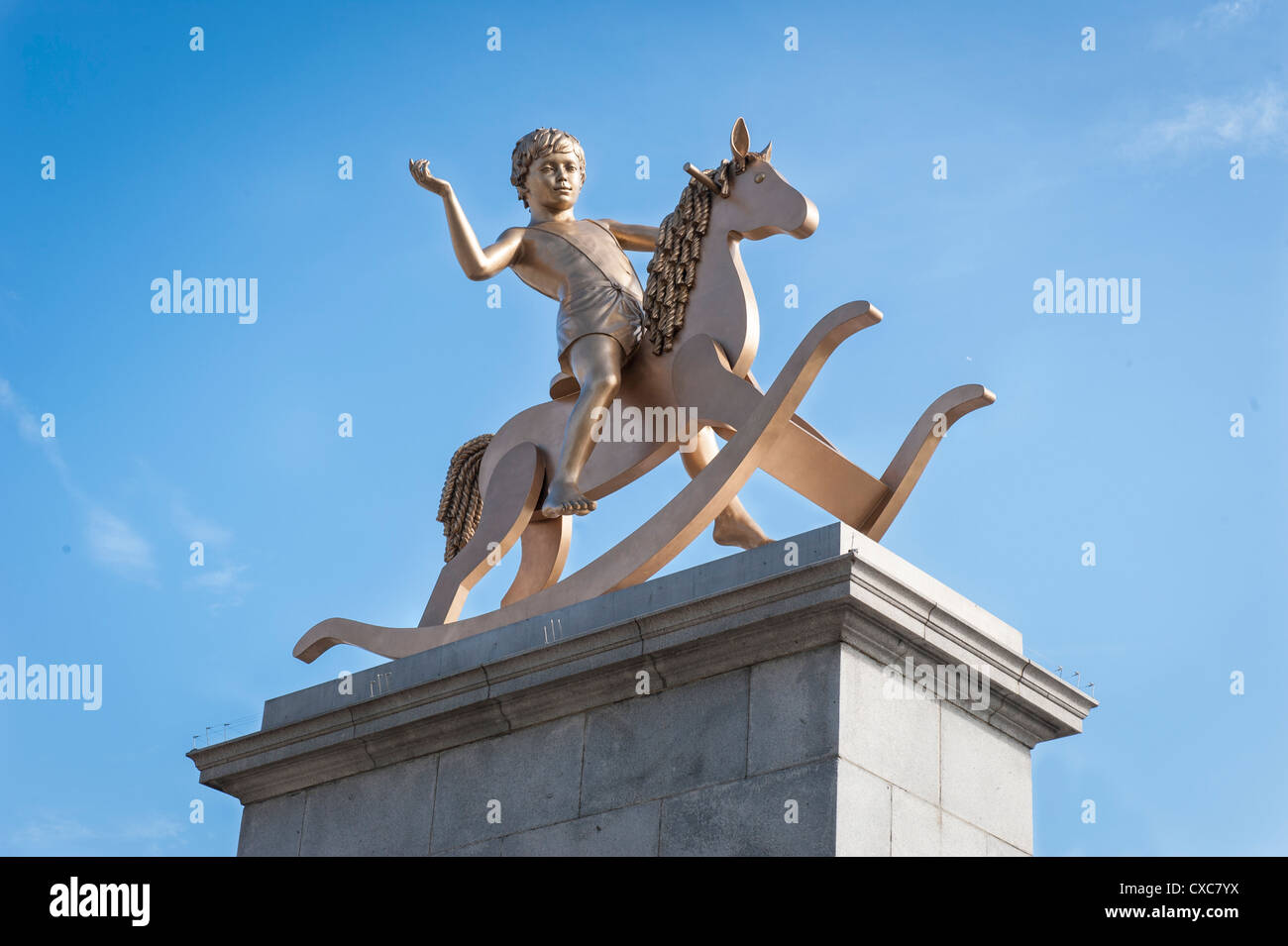 London Trafalgar Square Powerless Structures Fig 101 bronze statue Boy on a Rocking Horse 4th plinth by Elmgreen - Stock Image