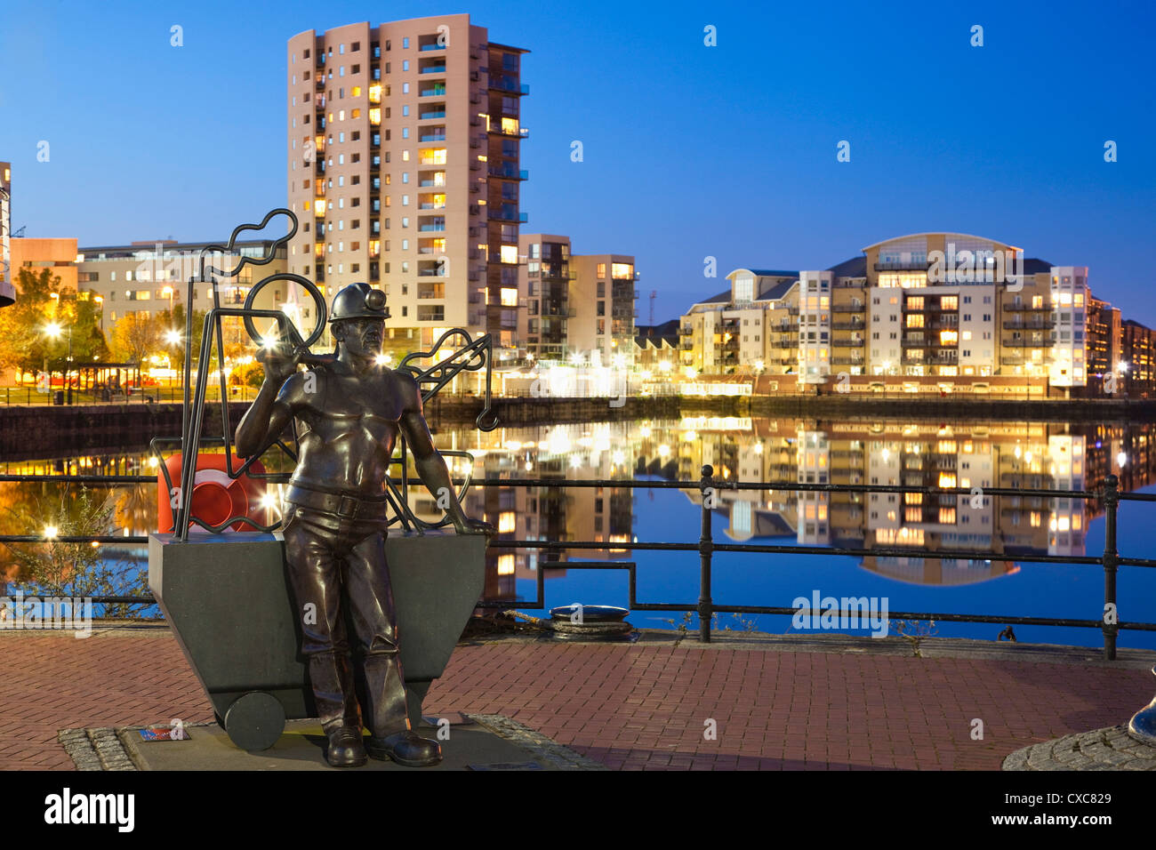 Miner Statue, Cardiff Bay, South Wales, Wales, United Kingdom, Europe - Stock Image