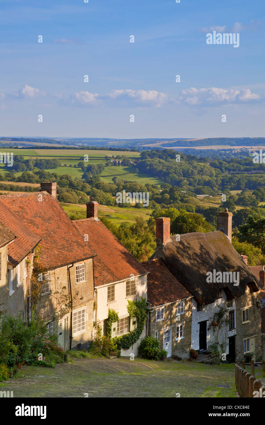 Gold Hill, and view over Blackmore Vale, Shaftesbury, Dorset, England, United Kingdom, Europe - Stock Image