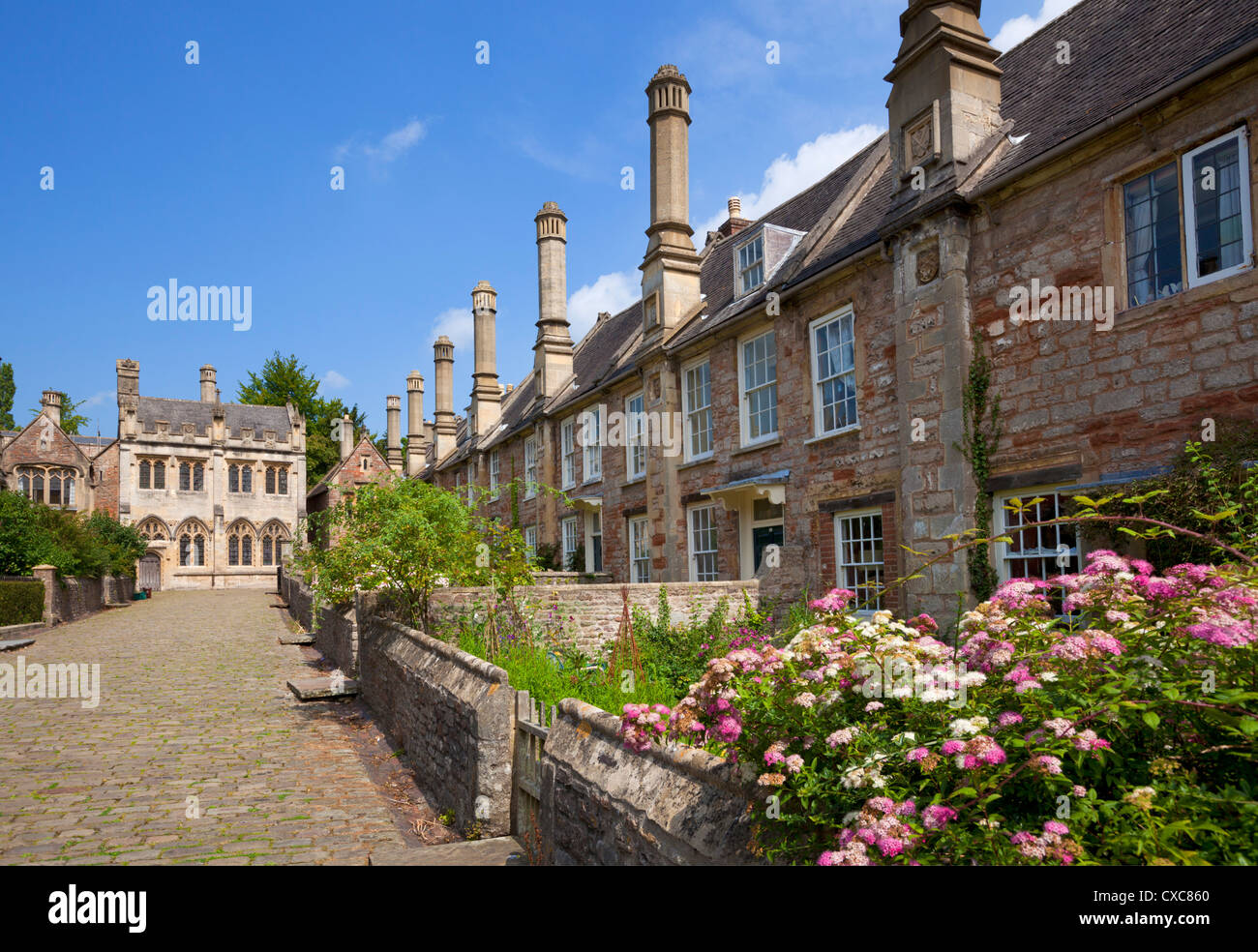 Vicar's Close, dating from the 14th century, the oldest surviving purely residential street in Europe, Wells - Stock Image