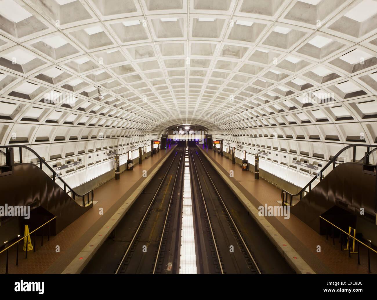 Foggy Bottom Metro station platform, part of the Washington D.C. metro system, Washington D.C., United States of - Stock Image