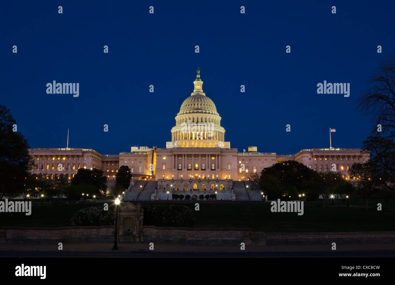 The United States Capitol Complex, the Capitol and the Senate Building showing  current renovation work, Washington - Stock Image