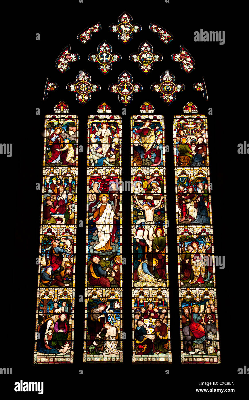 Stained glass window in St Marys Church Pembridge Herefordshire England UK. Stock Photo