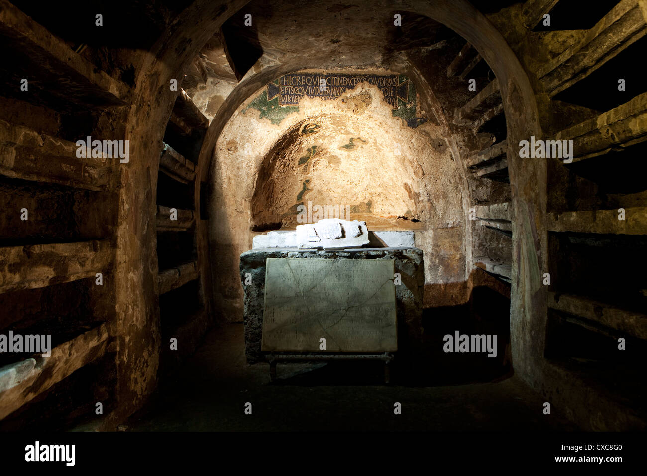 The underground catacombs of San Gaudioso (St. Gaudiosus), Naples, Campania, Italy, Europe - Stock Image