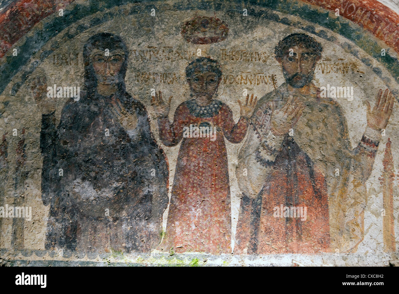 The earliest representation of San Gennaro, patron saint of Naples, in the catacombs of San Gennaro, Naples, Campania, - Stock Image