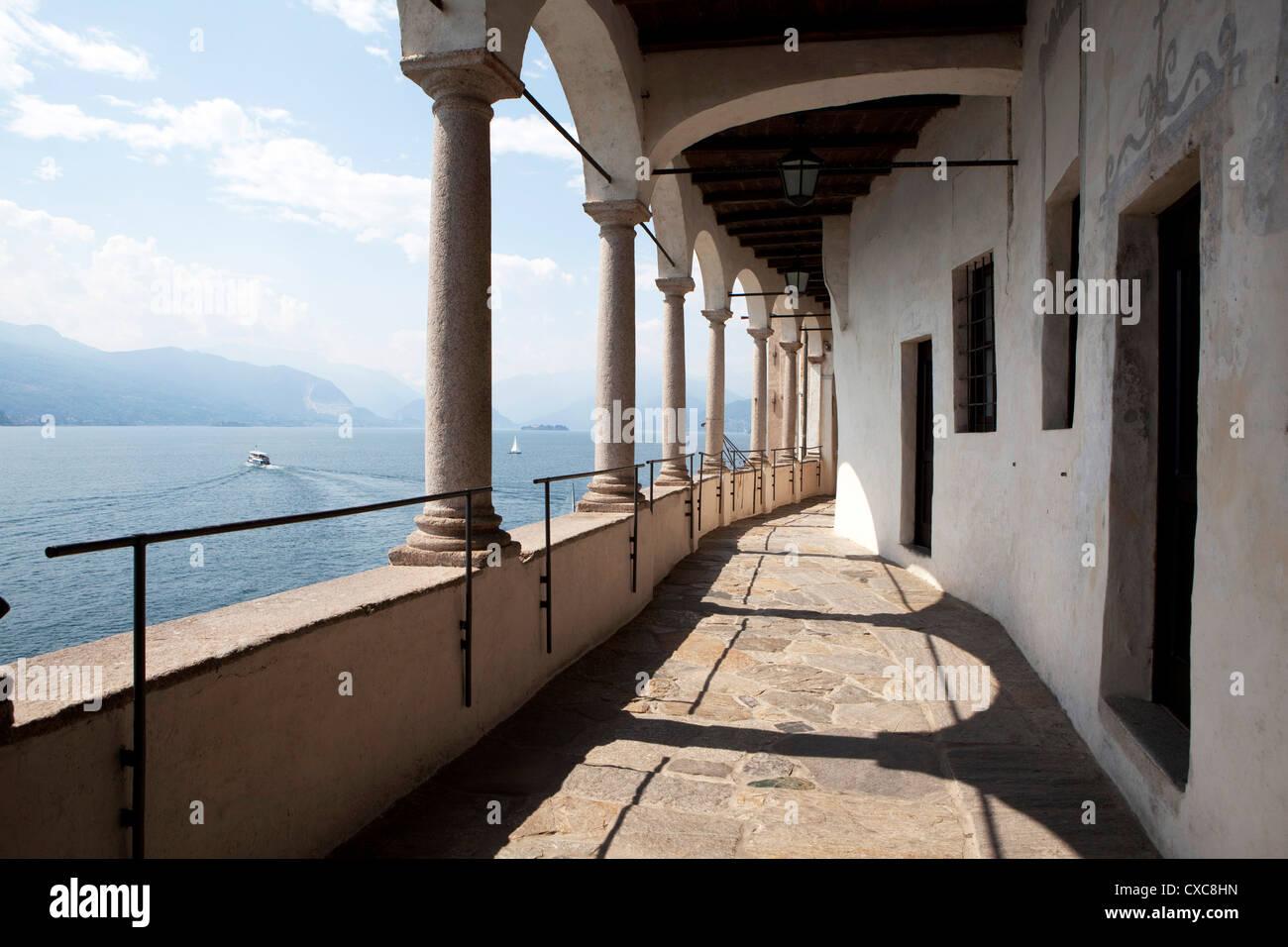Balcony of the Santa Caterina Monastery and Hermitage, Lake Maggiore, Lombardy, Italian Lakes, Italy, Europe - Stock Image
