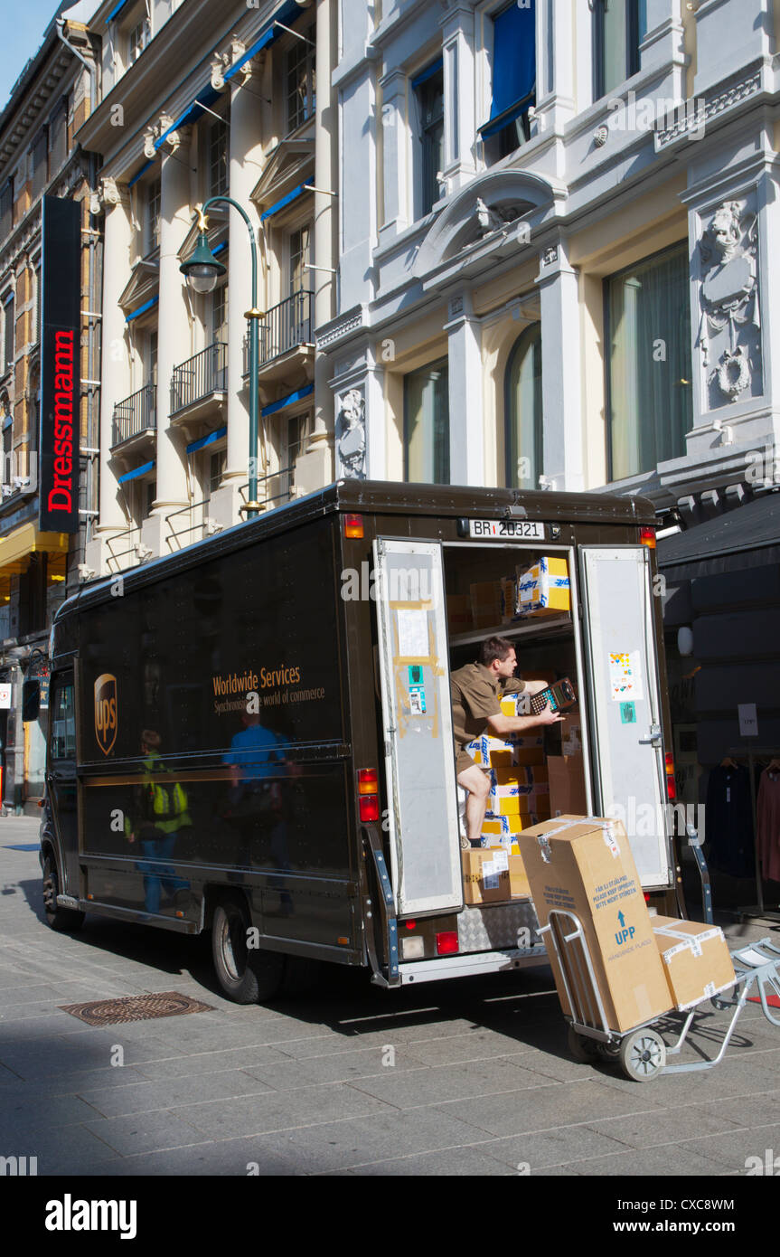 UPS parcel service delievery van along Karl Johans gate street Sentrum central Oslo Norway Europe - Stock Image