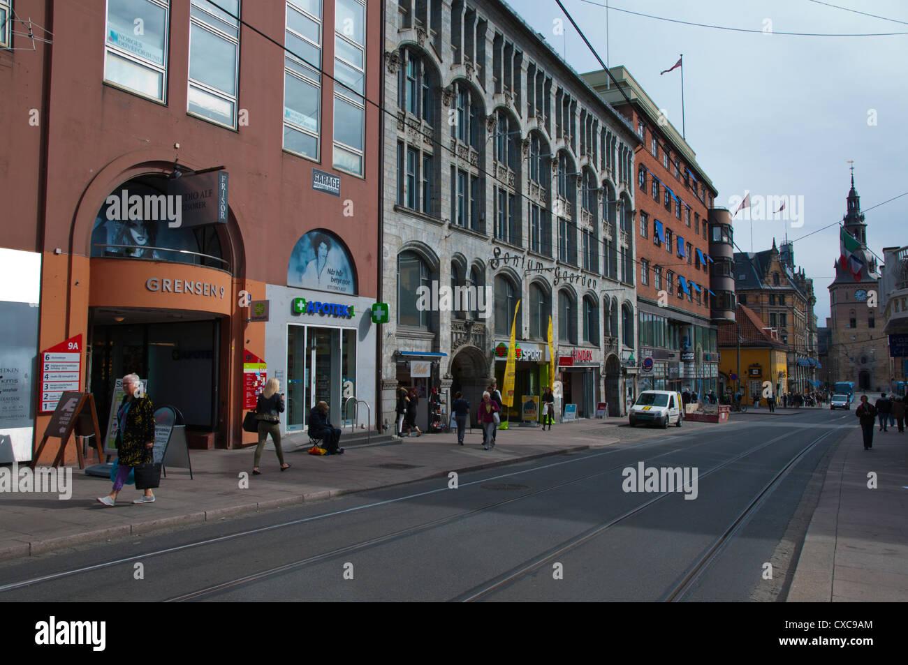 Grensen street Sentrum central Oslo Norway Europe - Stock Image