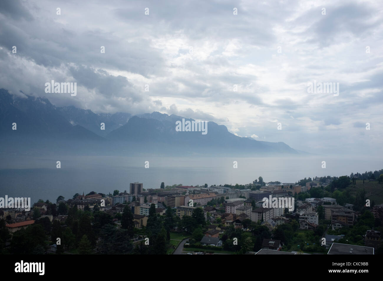 Lake Geneva or Lake Leman is one of the largest lakes in Western Europe -1 Stock Photo
