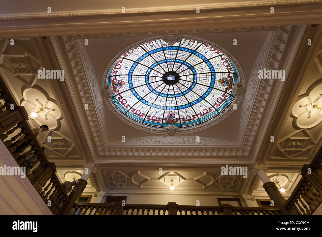 Stained Glass Dome Skylight at Boldt Castle and balcony. Brennan Stained Glass Studio of Syracuse NY completed this - Stock Image
