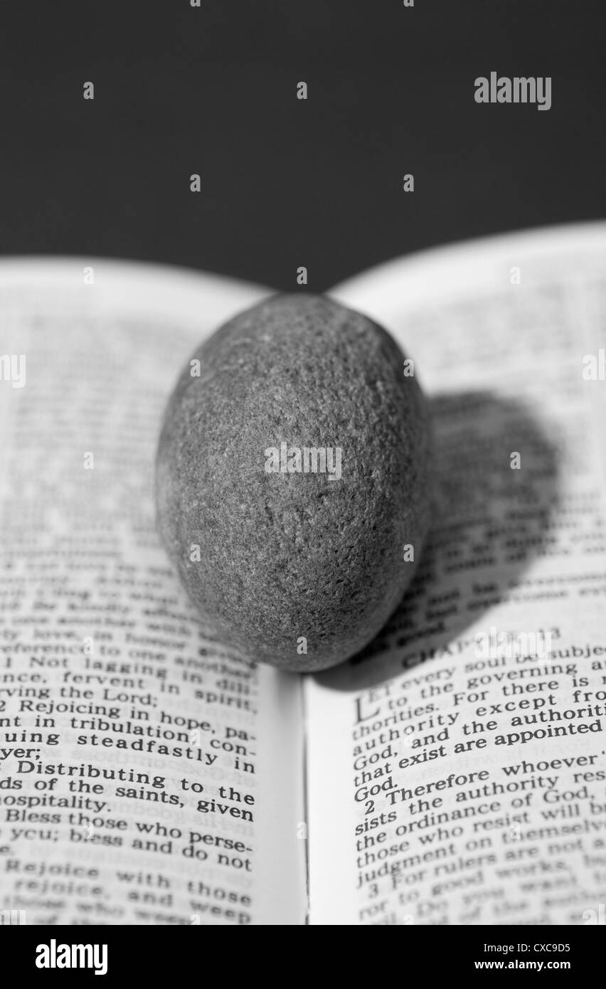 Stone on book pages - Stock Image