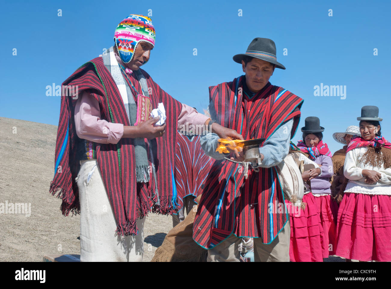Andean ritual to the Pachamama - Stock Image