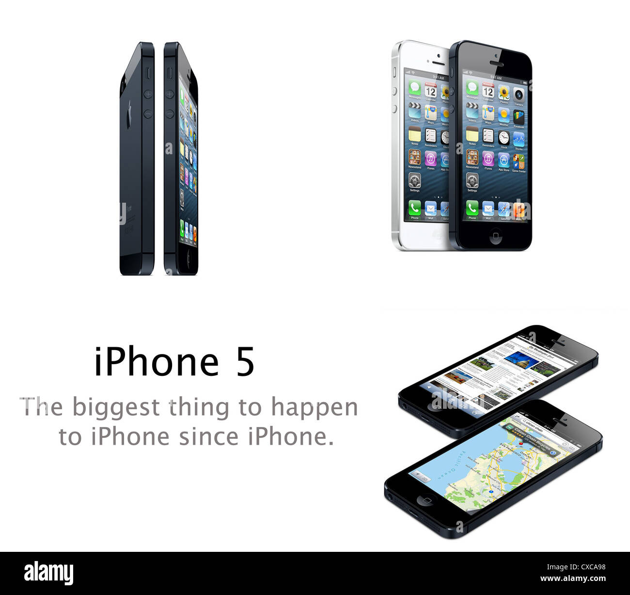 Images of Apple iPhone 5 mobile phone advertisement Stock Photo