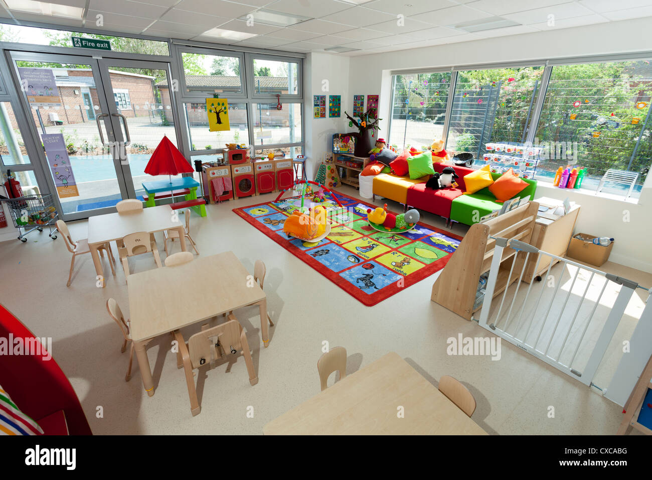 unoccupied infant classroom in childrens centre - Stock Image