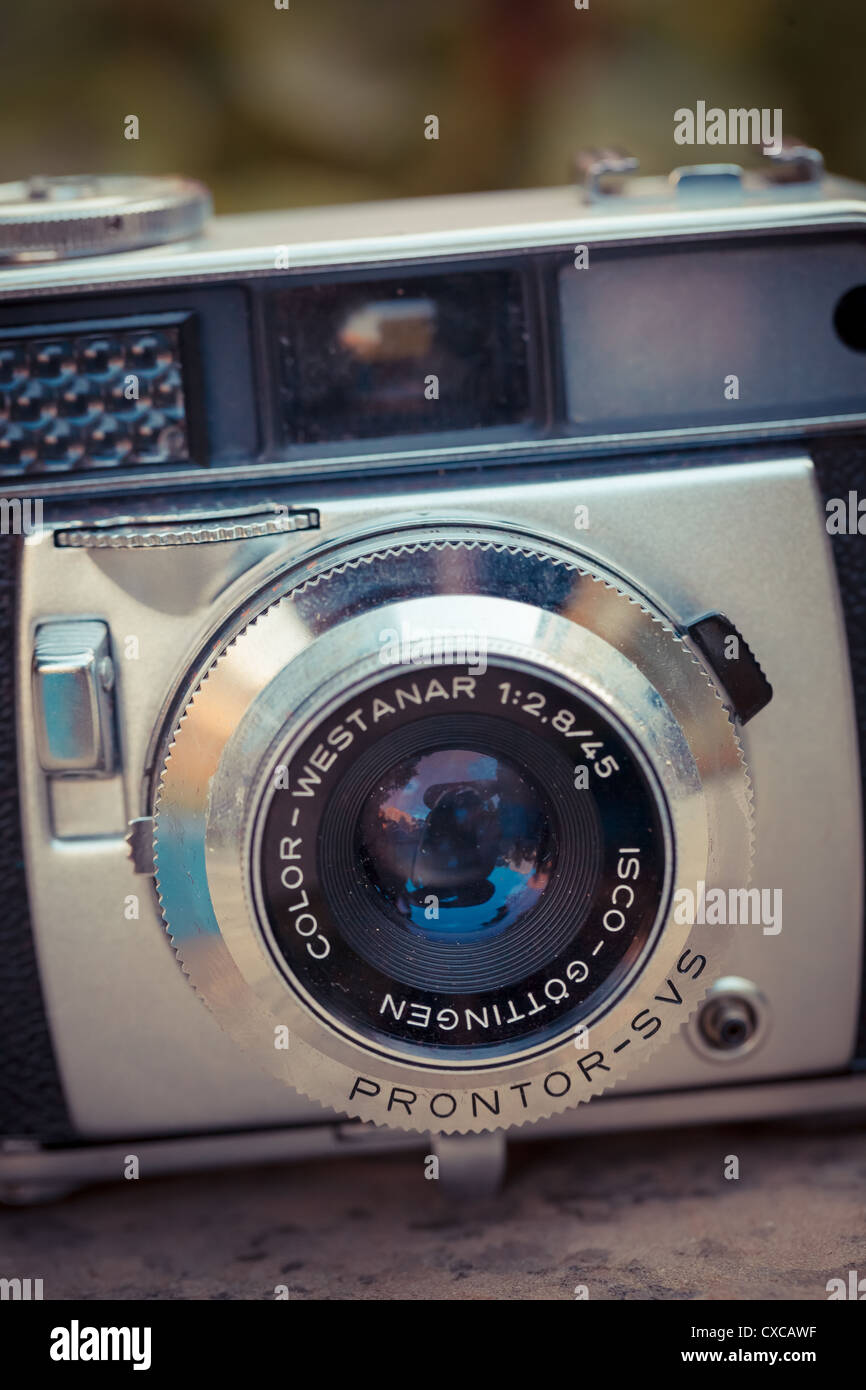 The beautiful design of an old analogic vintage camera - Stock Image