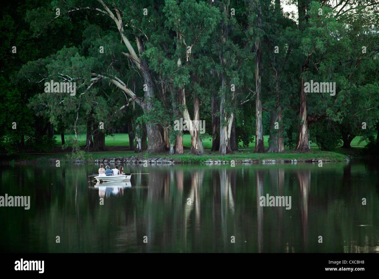 People fishing at a lake in estancia La Paz, Cordoba Province, Argentina. - Stock Image