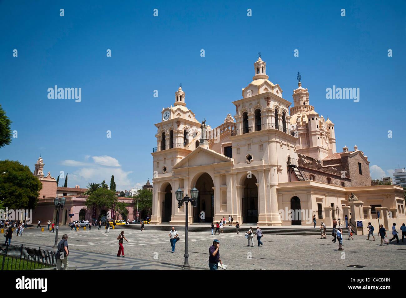 Iglesia Catedral at Plaza San Martin, Cordoba City, Cordoba Province, Argentina. Stock Photo