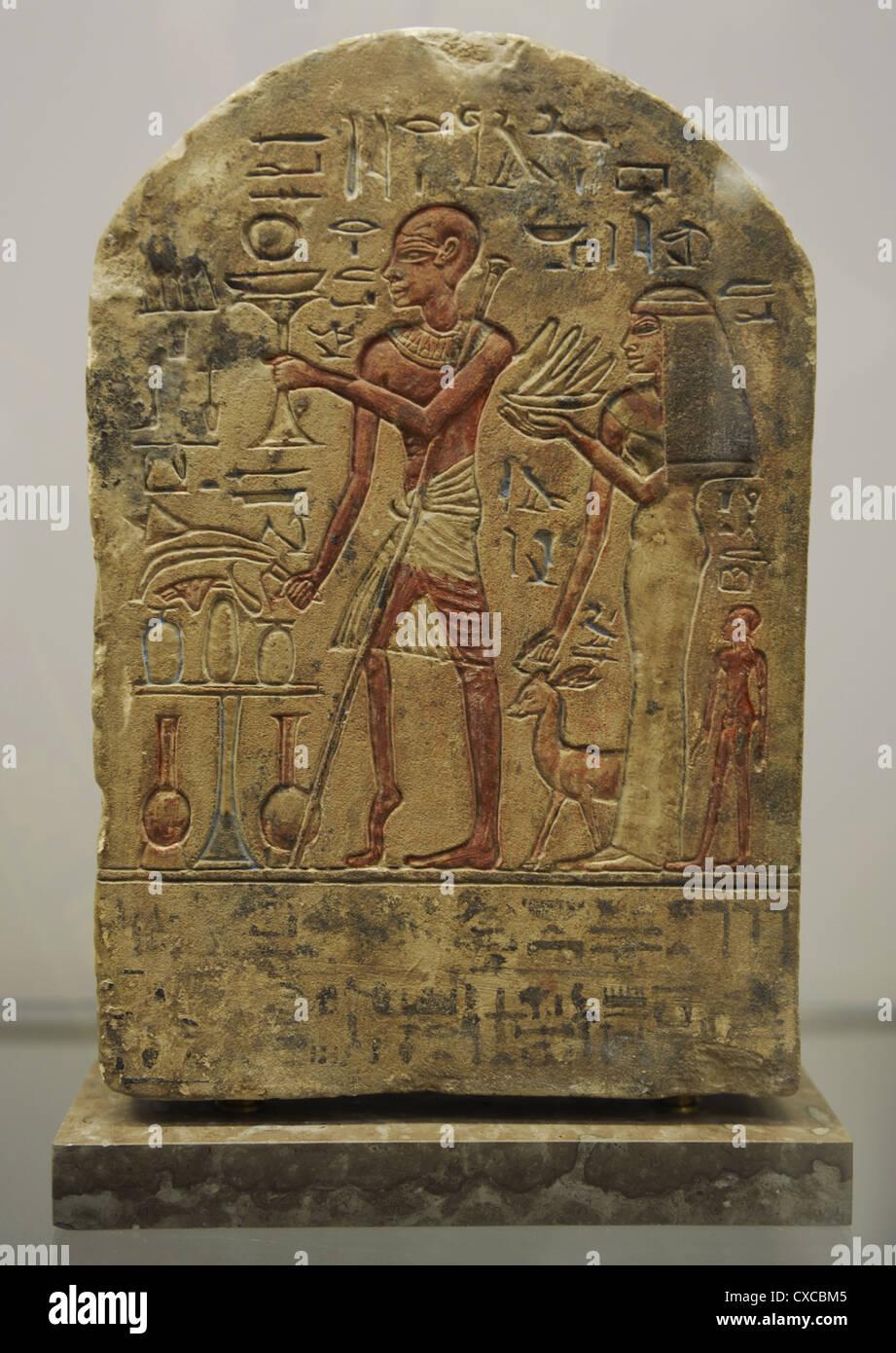 Stele of Roma the doorkeeper dedicated to Goddess Astarte. Limestone. 18th Dynasty. New Kingdom. Origin unknown. - Stock Image