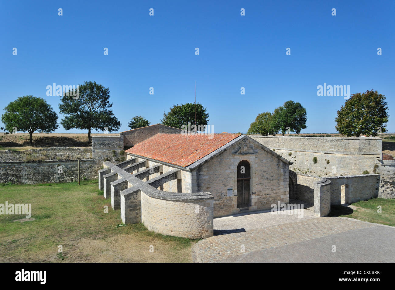 The Saint-Luc gunpowder magazine / poudrière with flying-buttresses at Brouage / Hiers-Brouage, Charente-Maritime, Stock Photo
