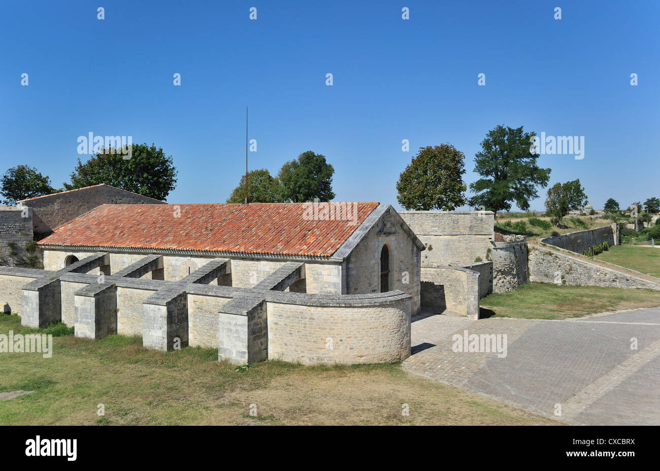 The Saint-Luc gunpowder magazine / poudrière with flying-buttresses at Brouage / Hiers-Brouage, Charente-Maritime, - Stock Image