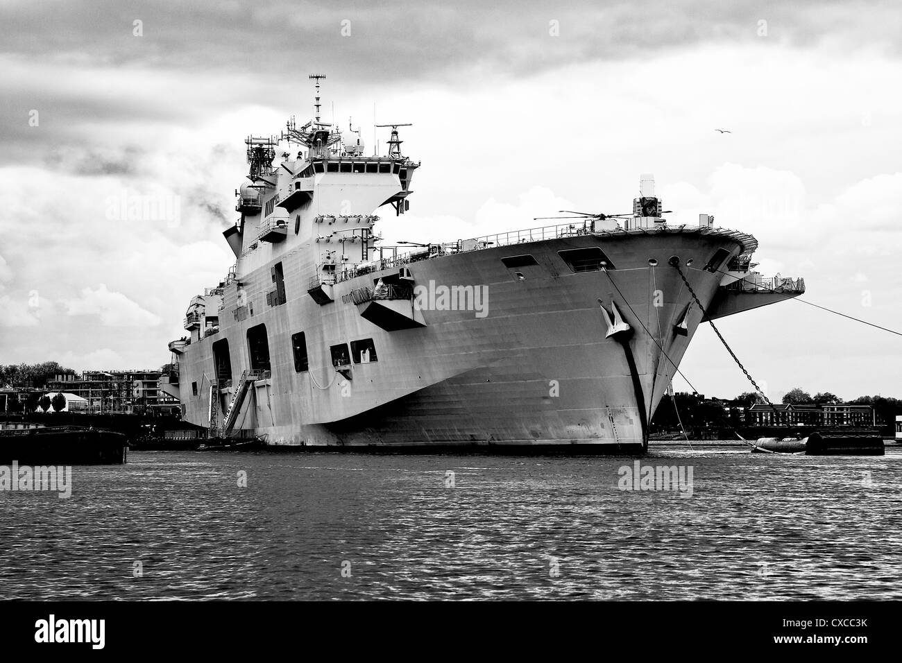 Black and white image of HMS Ocean in Greenwich Stock Photo